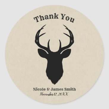 USA Themed Deer Head Antlers Rustic Country Modern Favor Classic Round Sticker