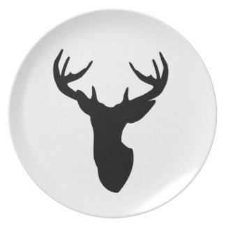 Deer Head Buck Stag Plate With Antlers