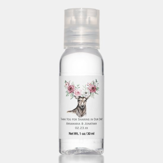 Deer Head Burgundy & Pink Floral Antlers Wedding Hand Sanitizer