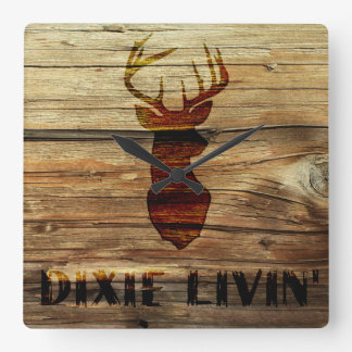 Deer Head Burn Dixie Livin Wall Clock
