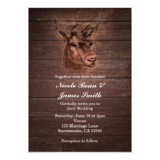 Deer Head & Dark Rustic Wood Wedding Invitations