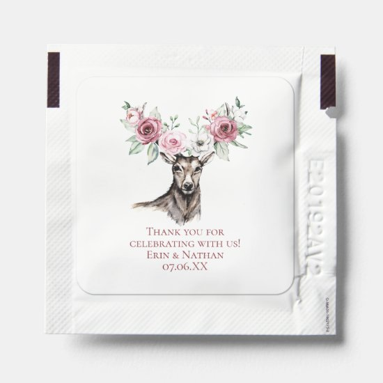 Deer Head Floral Antlers Wedding Favors Hand Sanitizer Packet