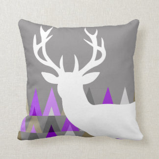 Deer Head Geometric Triangles | grey violet Throw Pillow