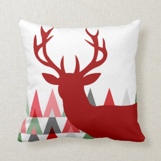 Deer Head Geometric Triangles | red green white Throw Pillow