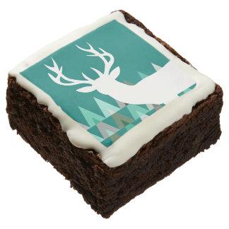 Deer Head Geometric Triangles | teal turquoise Chocolate Brownie