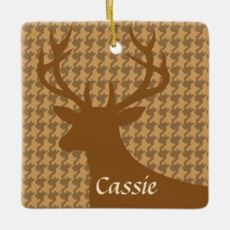 Deer Head Houndstooth | beige brown gray Ceramic Ornament