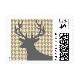 Deer Head Houndstooth | eggshell grey Postage