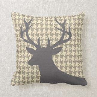 Deer Head Houndstooth   eggshell grey Throw Pillow