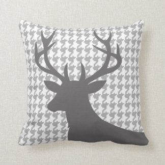 Deer Head Houndstooth | grey white Pillow