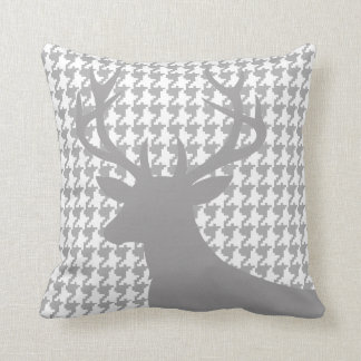 Deer Head Houndstooth | grey white Throw Pillow