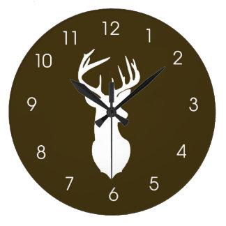 Deer Head Hunters Buck Wall Clock - Brown