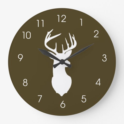 Deer Head Hunters Buck Wall Clock - Brown