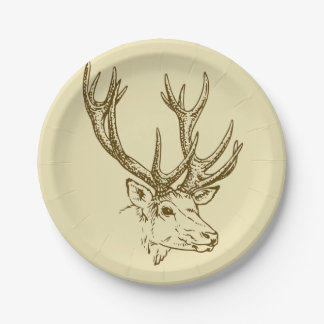 Deer Head Illustration Graphic Paper Plate