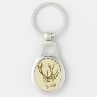 Deer Head Illustration Graphic Silver-Colored Oval Metal Keychain