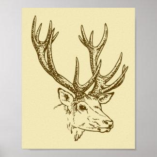 Deer Head Illustration Graphic Poster