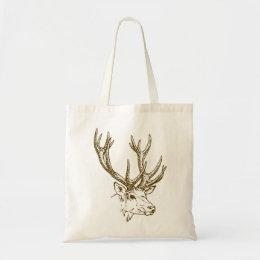 Deer Head Illustration Graphic Tote Bag