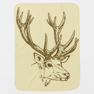 Deer Head Illustration Graphic Swaddle Blanket