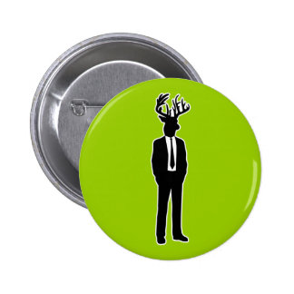 Deer Head Man in a Suit and Tie Pinback Button