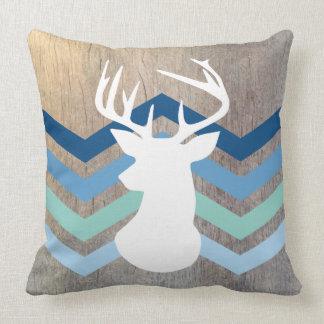 Deer Head Modern Chevron Wood Texture Blue Pillow