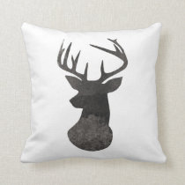 Deer Head Modern Ombre Watercolor Black and White Throw Pillow