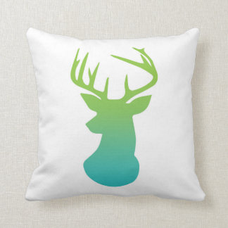 Deer Head Modern Ombre Watercolor Green and Blue Pillow
