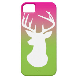 Deer Head Modern Ombre Watercolor Green and Pink iPhone 5 Case