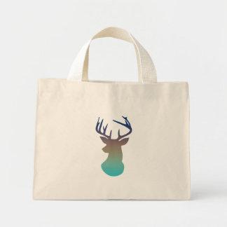 Deer Head Modern Ombre Watercolor Navy & Aqua Blue Mini Tote Bag