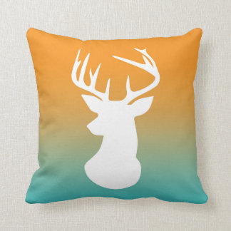 Deer Head Modern Ombre Watercolor Orange and Blue Throw Pillows