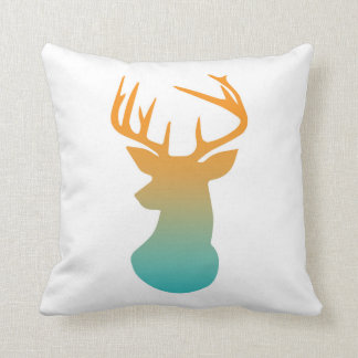 Deer Head Modern Ombre Watercolor Orange and Blue Throw Pillow