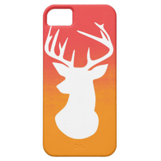 Deer Head Modern Ombre Watercolor Orange and Red iPhone 5 Cases