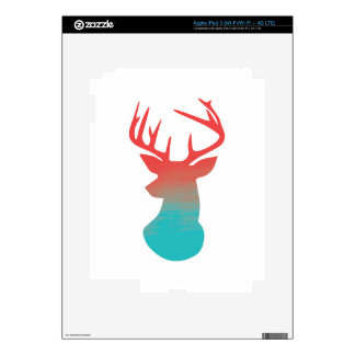 Deer Head Modern Ombre Watercolor Red and Blue iPad 3 Skins
