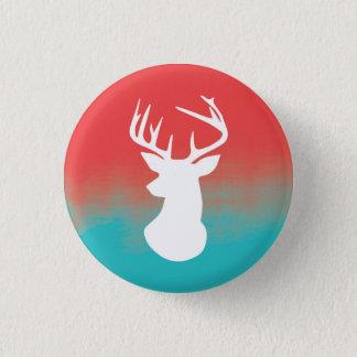 Deer Head Modern Ombre Watercolor Red & Blue Pinback Button