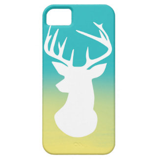 Deer Head Modern Ombre Watercolor Yellow and Blue iPhone 5 Case