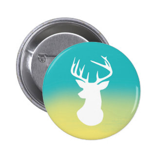 Deer Head Modern Ombre Watercolor Yellow & Blue Pinback Button