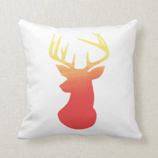 Deer Head Modern Ombre Watercolor Yellow & Orange Pillow