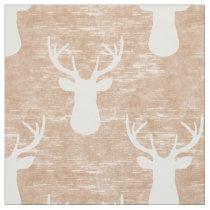 Deer Head on Bark Pattern Fabric