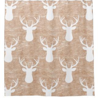 Deer Head on Bark Pattern Shower Curtain