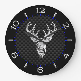 Deer Head on Carbon Fiber Style Print Large Clock