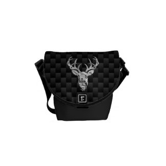 Deer Head on Carbon Fiber Style Print Messenger Bag