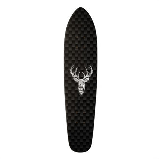 Deer Head on Carbon Fiber Style Print Skateboard Deck