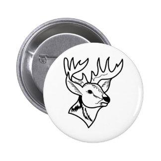 Deer Head Outline Pinback Button