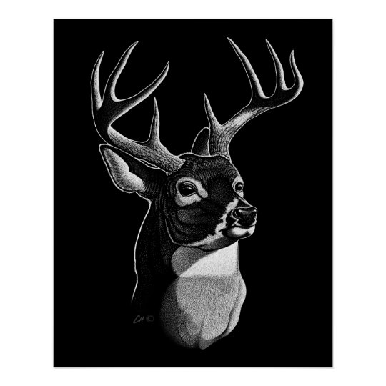 Deer Head Scratchboard-style Poster