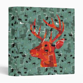 Deer head silhouette mosaic 3 ring binder