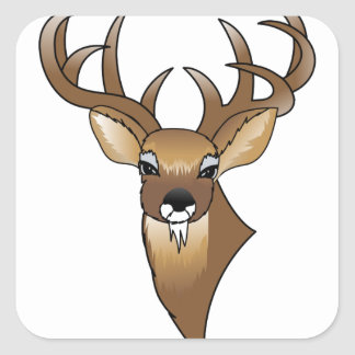 Deer head square sticker