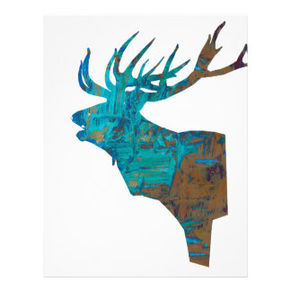 deer head stag in turqouis and brown letterhead