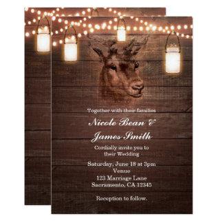 Deer Head String Lights & Wood Wedding Invitations