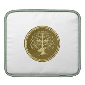 Deer Head Tree Antler Gold Coin Retro Sleeve For iPads
