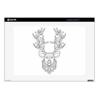 """Deer head with big antlers 15"""" laptop decals"""