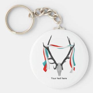 Deer Head With Patriotic Ribbons Keychain