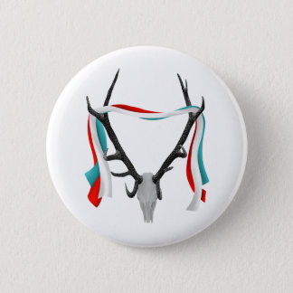 Deer Head With Patriotic Ribbons Pinback Button